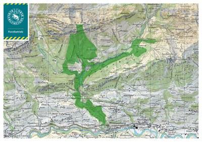 Waldgebiet der Burgergemeinde in Därstetten (Datenquelle Swisstopo)