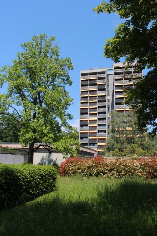 Demenzgarten im Burgerspittel im Viererfeld. Vergrösserte Ansicht